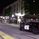 Street outside East Village shooting scene on Saturday night.