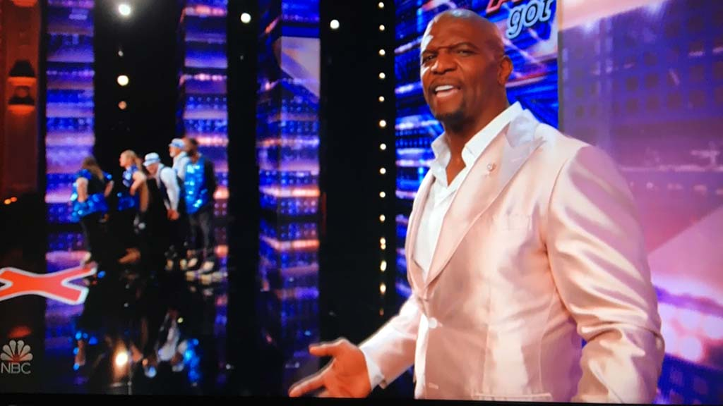 "Host Terry Crews looks surprised by the quick hook given Old School Skaters on ""America's Got Talent."""