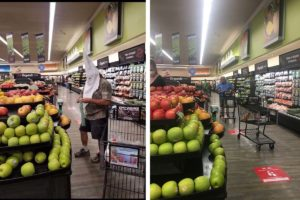 Photo at left was taken Saturday at Santee Vons. Photo at right was taken Sunday from same location by Times of San Diego.