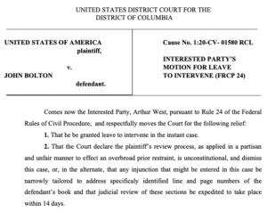 Arthur West motion to intervene in Bolton case. (PDF)