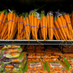 Carrots on supermarket shelf