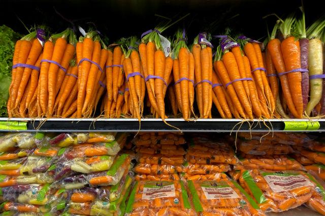 Carrots on supermarket shelf
