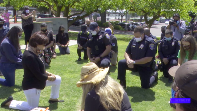 Chula Vista mayor and police kneel during protest