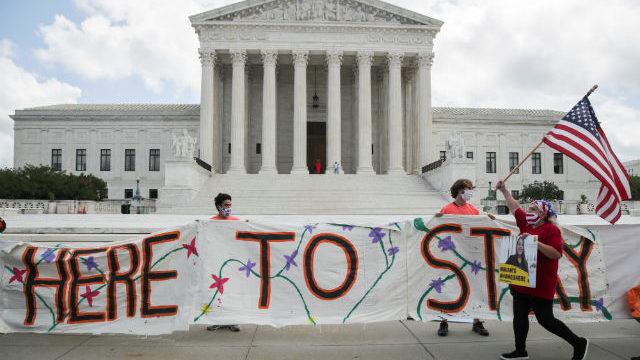 DACA recipients celebrate outside Supreme Court