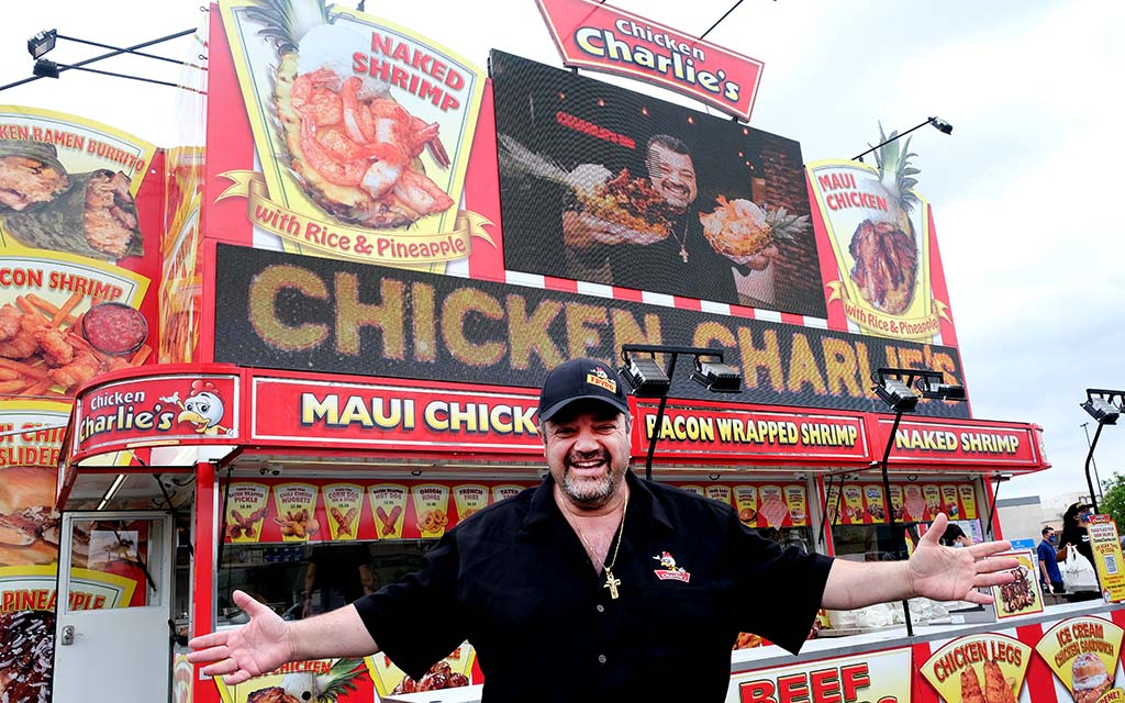 Charles Boghosian, aka Chicken Charlie, sells his fair food at Grossmont Center near the Wal-Mart in La Mesa. Photo by Chris Stone