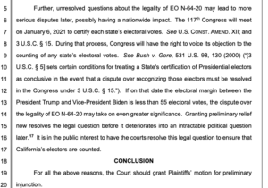 Closing argument to federal judge for a preliminary injunction against all-mail election. (PDF)