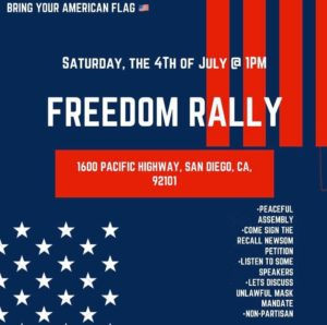 Digital flier for July 4 rally at County Administration Building.
