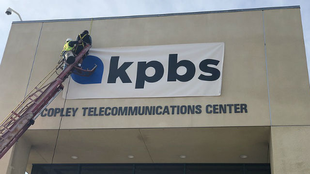 Sign with KPBS logo