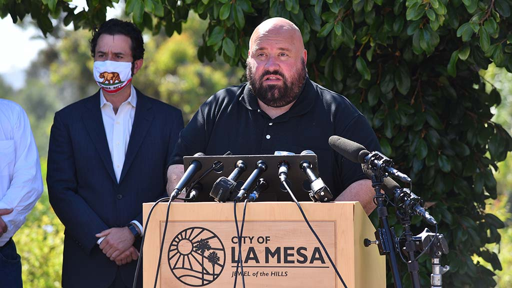 "La Mesa Mayor Mark Araposthathis: ""I'll be frank. We were totally overwhelmed by the situation. We were not prepared for a peaceful protest to erupt into the level of civil unrest we witnessed as the evening fell."""