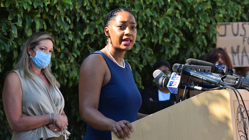 "Kristine Alessio watches as fellow La Mesa councilwoman Akilah Weber says: """"We are hurting. People's voices need to be heard. I was out there on Saturday with the peaceful protests and was very proud of how peaceful we were at that time."""