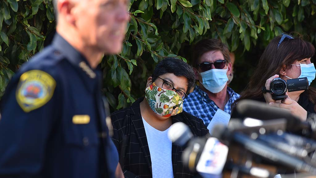 San Diego City Council President Georgette Gomez watched the press conferences but didn't speak.