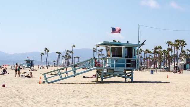 Lifeguard tower on Los Angeles beach