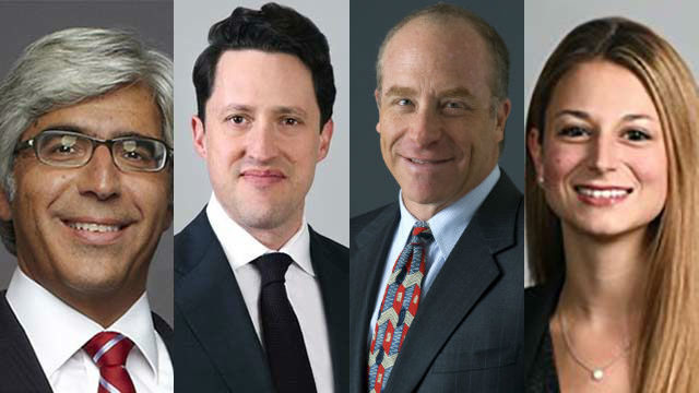 Primary lawyers for Rachel Maddow and co-defendants were (from left) Ted Boutrous Jr., Nathaniel Bach, Scott Edelman and Marissa Moshell.