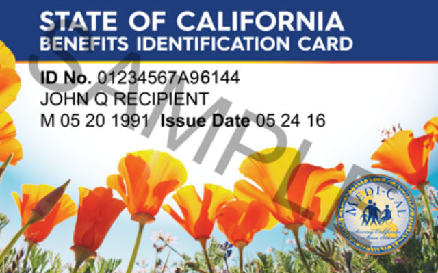 Sample Medi-Cal benefits card