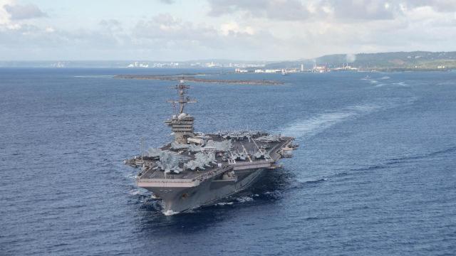 USS Theodore Roosevelt leaves Guam