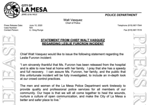 La Mesa police chief's statement after Leslie Furcron press conference. (PDF)