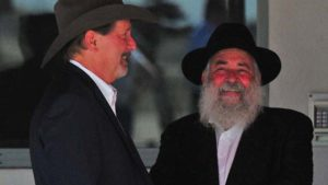 Chabad of Poway Rabbi Yisroel Goldstein and Poway Mayor Steve Vaus at September 2019 arrival in San Diego of President Trump.