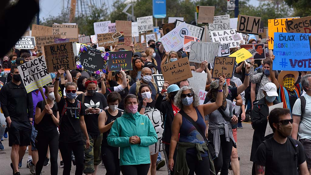 Thousands of protesters begin a Black Lives Matter march that began at the harbor and ended in Hillcrest. Photo by Chris Stone