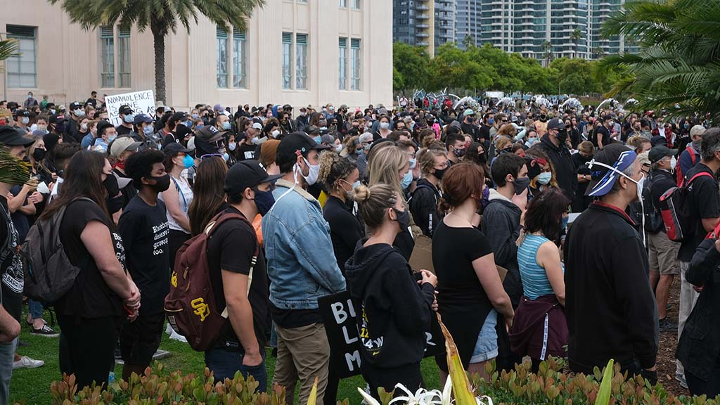 Thousands of protesters gather in front of the country administration building for a Black Lives Matter protest followed by a march