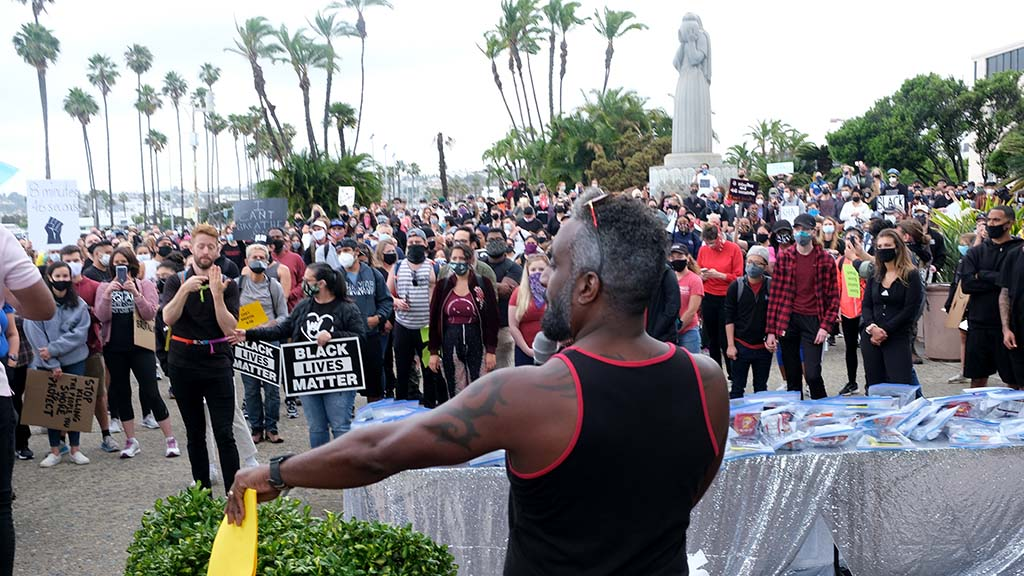 Protest organizer Charles Albert Brown spoke to thousands before the march began.