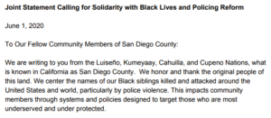 "Some 47 local elected officials in San Diego County signed letter calling for ""systemic change."""