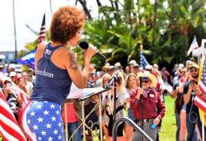 Joy Villa bashed Hollywood and called for more traditional values at Newsom recall rally.