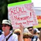 Gavin Newsom was depicted as a dictator on a rally sign. Others called the governor a Marxist tyrant.