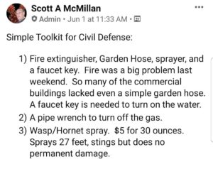 "Facebook posting by Scott McMillan titled ""Simple toolkit for civil defense."""