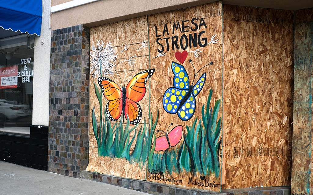 A springtime garden scene was painted in the La Mesa downtown Village area by Kristel Boe of Artbeat San Diego and Melissa Bevier.