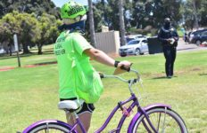 A protest, including a legal observers and medics, was organized with skateboard, skate and bicycle riders on Mission Bay Drive.