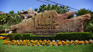 Monument signage for Lawrence Welk Resort north of Escondido off Interstate 15.
