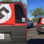 Smartphone images of SUV with Nazi flag parked near Alpine Albertsons.