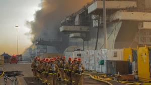 Fire aboard navy ship.