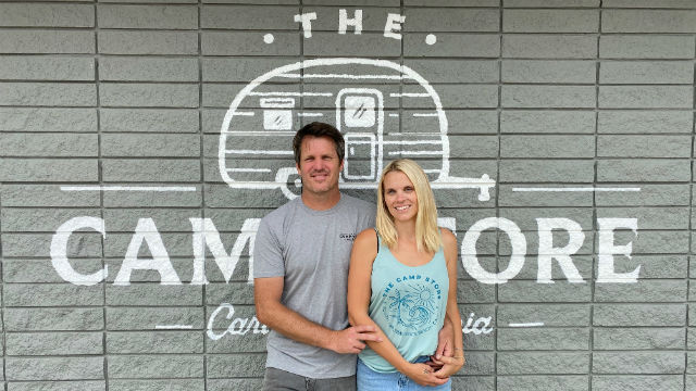 Anthony and Courtney Marcotti outside The Camp Store