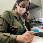 A county employee doing contact tracing