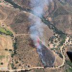 View of Dehesa vegetation fire from aircraft.
