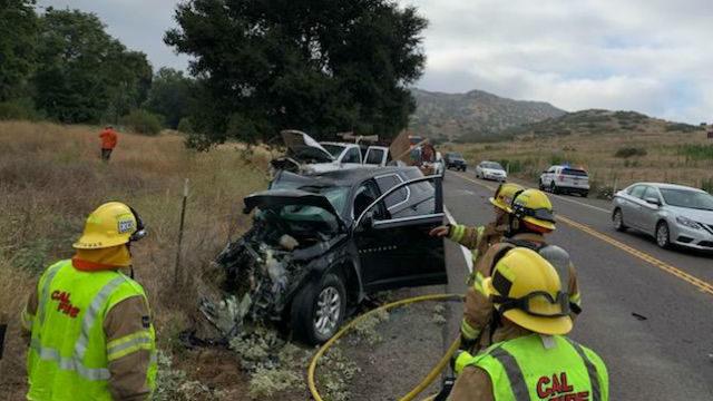 Cal Fire personnel at crash site
