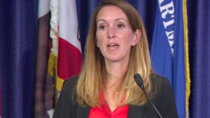 Assistant U.S. Attorney Emily Allen, lead prosecutor of the Goldstein case, speaks to media.