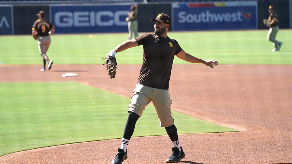 First baseman Eric Hosmer participates in fielding practice at Petco Park
