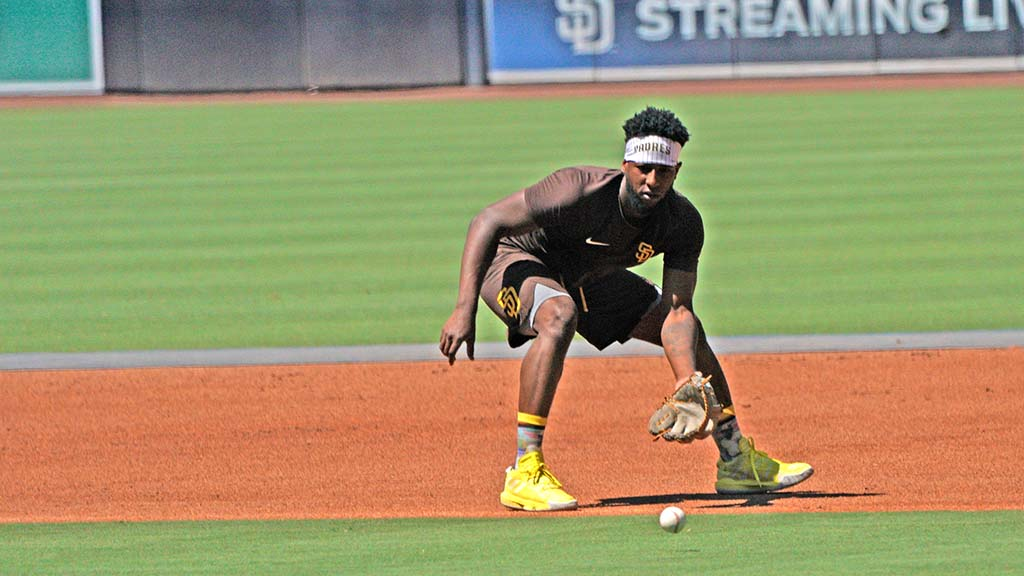 Jurickson Profar practices fielding at Padres summer camp at Petco Park.