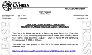 La Mesa City Manager Greg Humora, acting as director of emergency and disaster, signed order setting up restricted area.