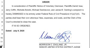 U.S. District Judge Morrison England signed order dismissing Darrell Issa lawsuit. (PDF)