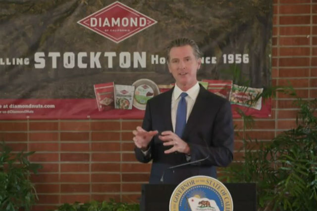 Gov. Gavin Newsom speaks in Stockton