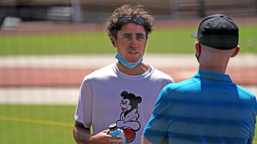 Padres General Manager A.J. Preller was on the field Friday to watch players and talk to coaches.