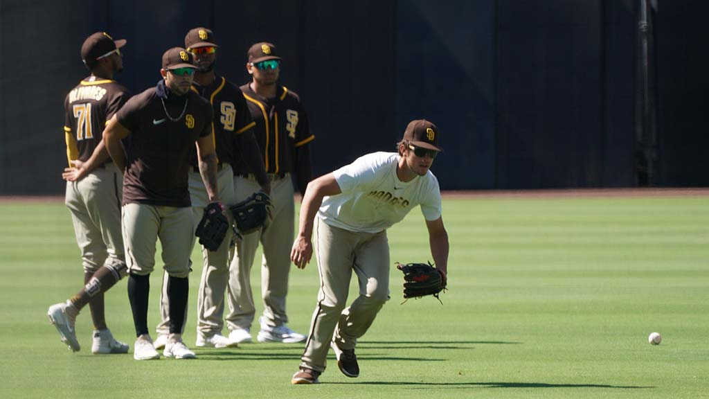 Outfielder Wil Myers gets in some fielding practice on the field at Petco Park