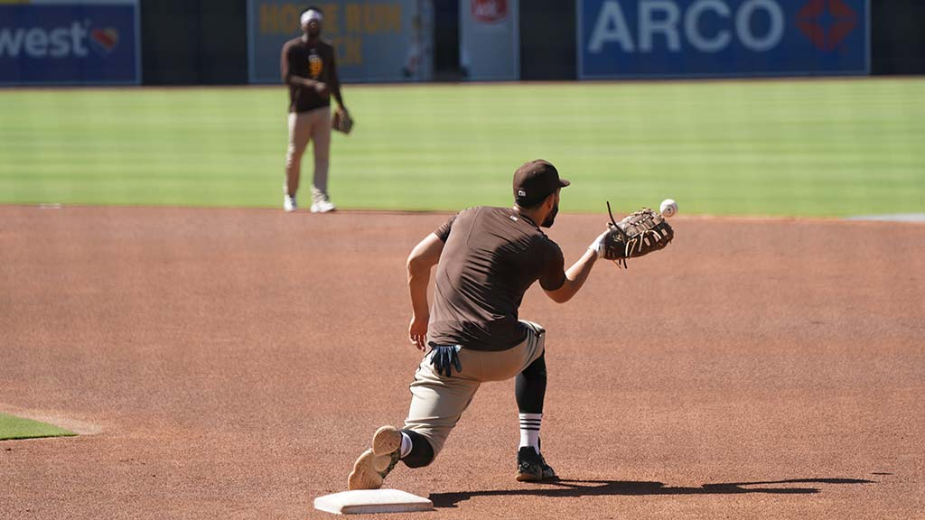 First baseman Eric Hosmer fields a ball during practice at Petco Park.