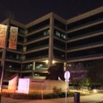 Crime scene tape around police headquarters