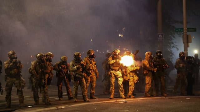 Federal law enforcement officers fire at protesters in Porland