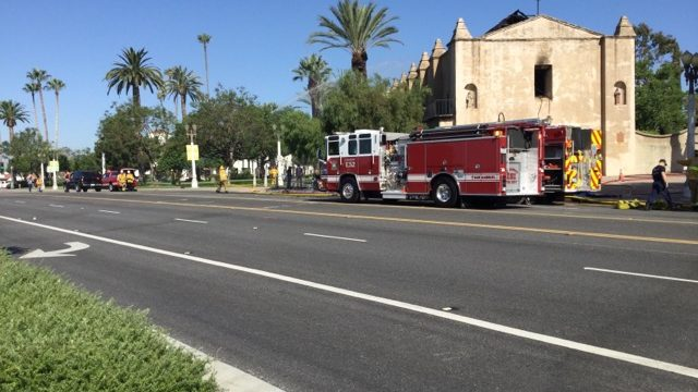 Fire truck outside historic mission
