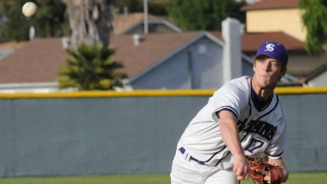 Jaylen Fleer, shown pitching for Santana High School, faces 18 years and four months in state prison if convicted of all charges.